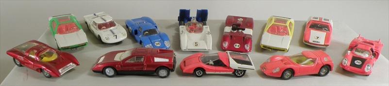 DINKY TOYS A Collection f 12 die cast models of racing and sports cars including DE TOMASSO No.187, Two LAMBORGHINI MARZAL No 189, FERRARI 312P, MATRA 630 FERRARI P5 No: 220, FORD GT, McLAREN MBA, MERCEDES BENZ C111 No: 224, ALFA ROMEO SCARABEO No:217, FIAT ABARTH 2000, and ALFA ROMEO 33 TIPO No:210.    (12)