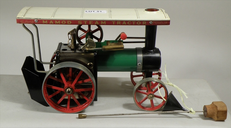 A MAMOD STEAM TRACTOR, Model TE1a, having white canopy, ridged roof, green fuselage and aluminium cast wheels, in original presentation box