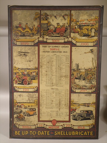 A 1929 SHELL MOTOR OILS TABLE OF CORRECT GRADES STEEL SIGN with images of cars and gentry for 1896, 1901, 1906, 1911 & 1917, 74cm x 51cm