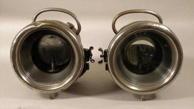 A PAIR OF LUCAS LANDALITE VETERAN CAR LAMPS, No.T51, (believed circa 1911) manufactured by Joseph Lucas ltd., Birmingham, the black painted body with nickel plated brass fittings acetyalene tank and 16cm lens