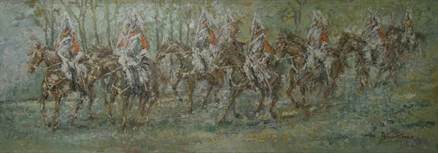 FELIX FABIAN Horseguards parading through probably Hyde Park, soldiers on horseback, palette knife Oil on canvas, signed and dated 73, 85cm x 2.3m, in a gilt and canvas mounted frame Illustrated