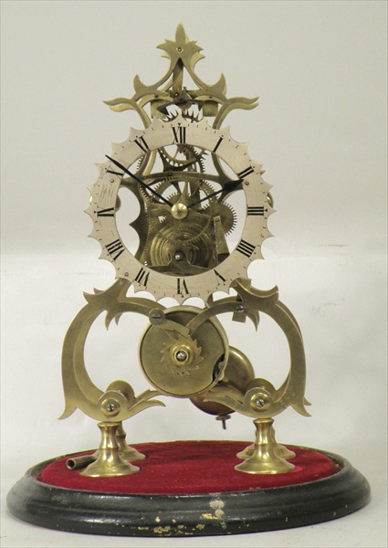 A VICTORIAN BRASS SKELETON TIMEPIECE having four wheel crossings anchor escapement and gut line fusee faced by a silvered Roman calibrated dial, under a glass dome, on ebonised base, 38cm high overall