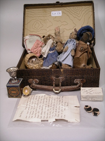 A SELECTION OF BEATRIX POTTER STYLE SOFT TOYS in the manner of Steiff, to include a family of MICE, Mrs Tittlemouse holding baby in nightgown, and a basket of baby mice; a FAMILY OF THREE RABBITS; BEDDING; a SHELL BASKET of shells; a MINIATURE HUNTLEY & PALMERS BISCUIT TIN; and a MATCHBOX handwritten Gent