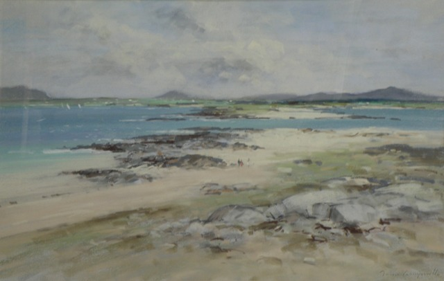 JAMES LONGUEVILLE Mannin Bay - Connemara, beach scene with three figures walking on the sandy shore and yachts in the distant bay, [red][strike]Watercolour[/strike] Pastel[/red], signed, 44cm x 68cm
