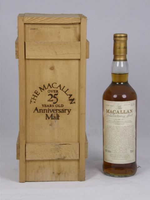 THE MACALLAN ANNIVERSARY MALT 1965 special bottling of unblended Single Malt Scotch Whisky, aged 25 yrs, bottled 1991, 43% volume, 1 bottle in original wooden case