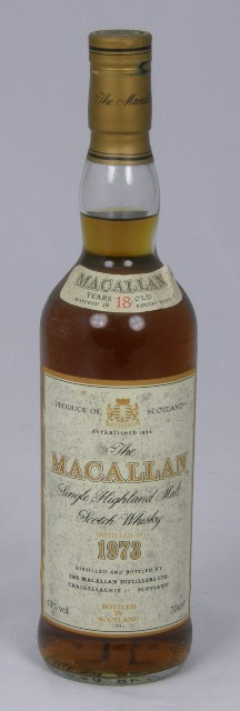 THE MACALLAN 1973 Highland Malt Scotch Whisky, 18yr old, 43% volume, 1 bottle