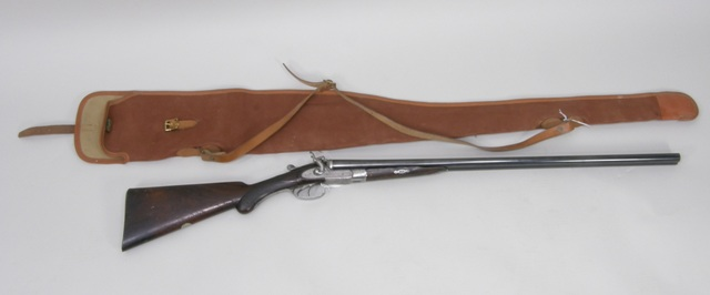 W.E. BARRATT A LATE 19TH CENTURY 20 BORE SIDE BY SIDE HAMMER SHOTGUN with replacement barrels by C.G. Bonehill, patent wedge bolt no.3091, re-proofed (SG Cert required)
