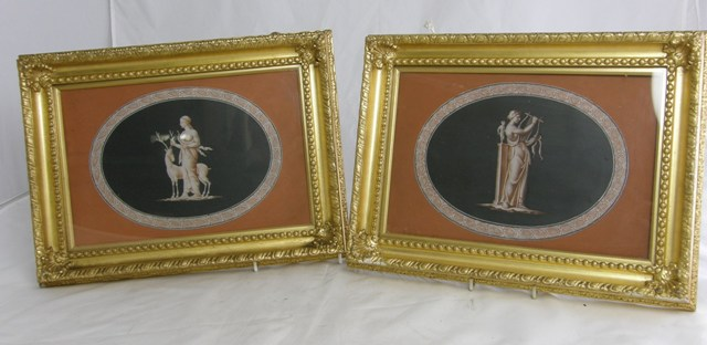 A PAIR OF CLASSICAL DESIGNS FOR APPARENTLY ENCAUSTIC TILES each worked on slate, Diana and a Stag and companion playing a lyre, each in earthy colouring on a black ground with palmette border, 18.5cm x 28cm, bears various paper labels for Leeds Museum of Art, dated 1868, in gilt gesso glazed frames