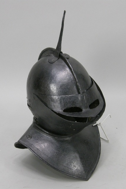 A POSSIBLY 17TH CENTURY STEEL COMPOSITE FUNARY HELMET believed to be constructed from an English London made Pikemans Gourget circa 1630, and SKULL FROM HARQUEBUSIERS POT c. 1650 with later visor