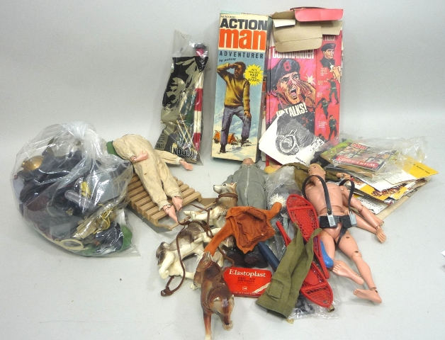 A QUANTITY OF PALITOY ACTION MEN AND KIT including Adventurer, boxed, Diving Kit Clothes, Sleigh and Husky dogs, leaflets and packaging
