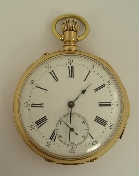 AN EARLY 20TH CENTURY SWISS OPEN FACE GENTLEMAN'S POCKET WATCH having gold coloured metal case stamped 18ct., inscribed inner case, repeater mechanism with wolf tooth winding and bi-metrallic compensation balance, stamped 18ct.