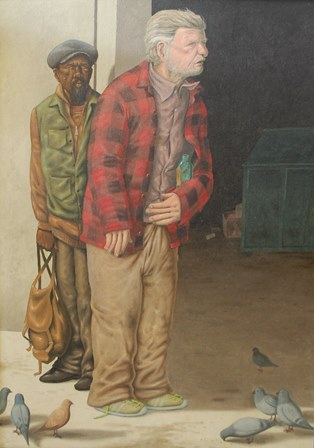 GUY COLWELL (b.1945) Street Men, oil on canvas, signed and dated lower right, 72.5cm by 53cm