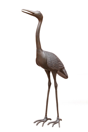 A 20th century bronze crane, standing with beak open, 1.54m tall  Illustrated