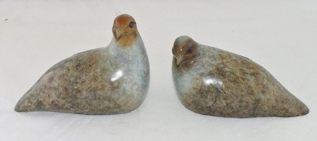 David Meredith  A pair of limited edition cast and painted bronze Quail, no.4/8, 20cm illustrated