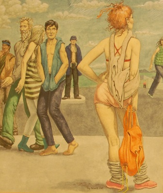 GUY COLWELL (b.1945) Lady with orange rucksack, signed and dated 1982, watercolour, pen and ink, watercolour, 31cm by 27cm