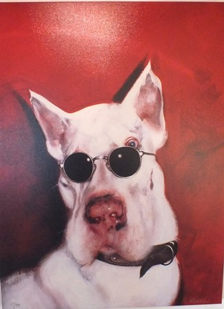 S. W***, 2006 Chanel - The Dog wearing sun glasses, red ground, Giclee hand enhanced print, limited edition 17 of 99, signed and numbered, 99cm x 74cm, unframed