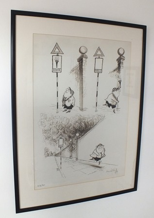 RONALD SEARLE (born 1920) End of Term, three images of Molesworth telling the story of his act of arson, dip pen and ink drawing, signed, titled and dated (19)54, 46cm x 32cm (published News Chronicle London Issue 31st July 1954) in plain ebonised glazed frame