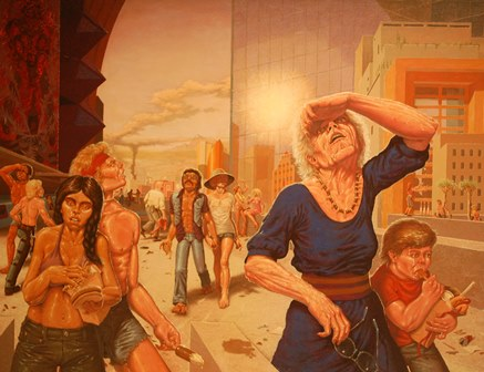 GUY COLWELL (American, b.1945) Heat wave, oil on canvas, signed and dated lower right 1976, 122cm by 157cm