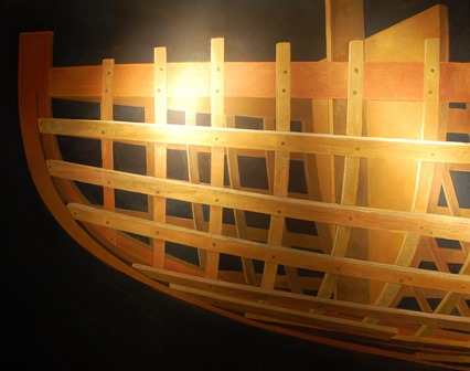 JAMES DODDS  Inside the stern of a Thames Barge, 2009, Battened out Poole Harbour one Design, 2009, a pair in oil, 61cm by 152cm and 91cm by 106cm (2)