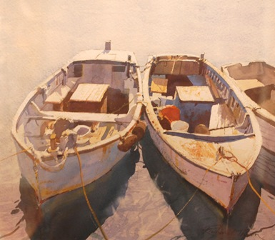 RICHARD THORN  Two moored fishing vessels, watercolour, signed, 27cm by 30.5cm, illustrated