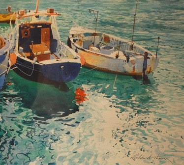 RICHARD THORN  Brixham Boats, watercolour,signed, 28cm by 32cm