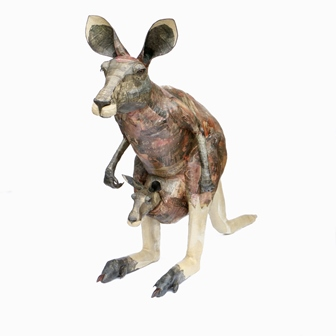 David Farrer Experience Australia. A papier mache kangaroo, with Joey, in pouch, signed and dated 2007 inside ear, titled to shoulder, 1.44m high (ex: Rebecca Hossack Gallery, London 2007) illustrated