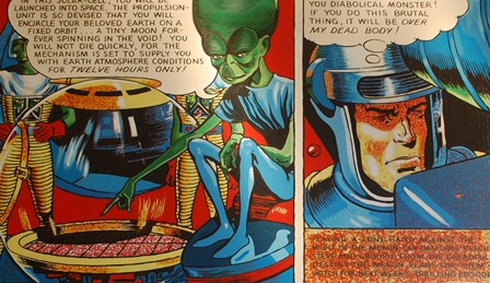 GEORGE SNOW A comic sketch, Eagle Comics Dan Dare and his arch nemesis The Mekon, acrylic on canvas, 100cm by 160cm