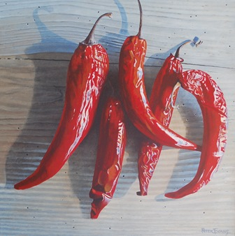 PETER EVANS  Chilies, acrylic on panel, signed lower right, 33cm by 33cm