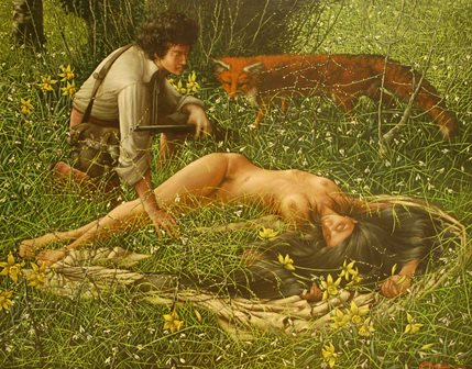 GEOFFREY ERNEST HOLT (1942-1998) Study of a wounded female nude, deep within a forest glade, discovered by a huntsman, a fox beside, oil on canvas, 71cm by 90cm