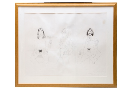 After DAVID HOCKNEY (British, b.1937) Richard, Jim and Felix, reproduction print, (the OZ trials defendants from one of the longest cases in British legal history) 71cm x 91cm, signed in pencil