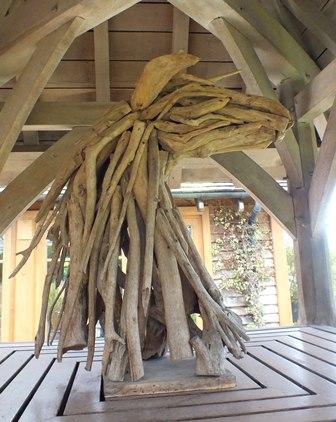 A 20th century driftwood sculpture of a horse head, approx 35cm high