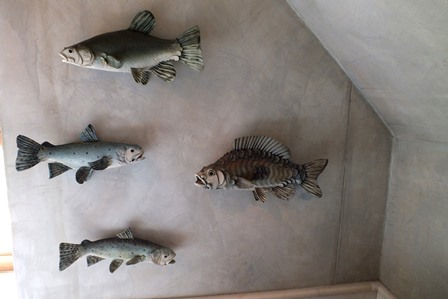 Colin Andrews  A set of four studio stoneware models of freshwater fish, ranging from 32cm to 38cm