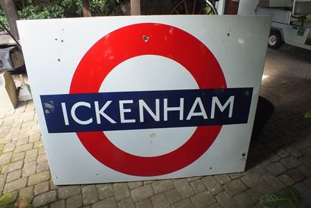 A 20th century Ickenham enamel London underground sign, 1.15m x 1.52m