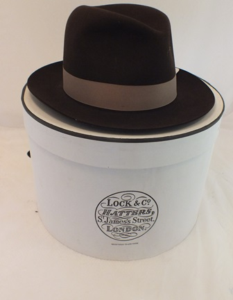 A Lock & Co. Hatters, St James St., London, brown felt Trilby hat size 60 (7 3/8) in original vendors box illustrated