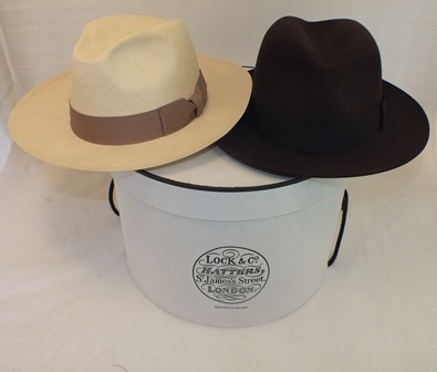 A Lock & Co. Hatters, St James St., London, brown felt Trilby hat size 60 (7 3/8) and a straw Panama hat, size 60 (7 3/8), in original vendors box