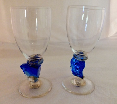 Six wine goblets with blue nugget of glass stems, partially gilded, various sizes