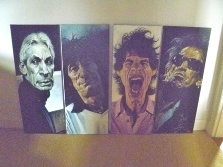 AFTER SEBASTIAN KRUGER Stones Suite, a set of four limited edition Giclee canvas prints, depicting caricatures of the four current members of The Rolling Stones, each signed and numbered 17/99, unframed, 104cm by  42cm