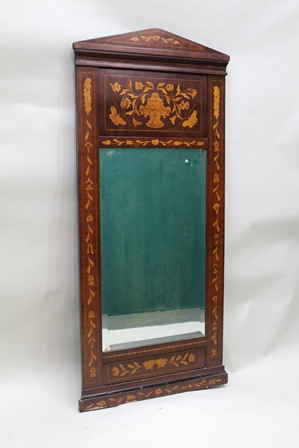 AN 18TH CENTURY STYLE INLAID MIRROR FRAME, with rectangular bevelled plate, 134cm x 60cm
