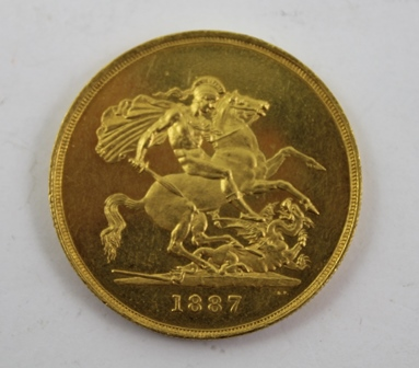 A VICTORIAN £5 GOLD COIN 1887, Jubilee head