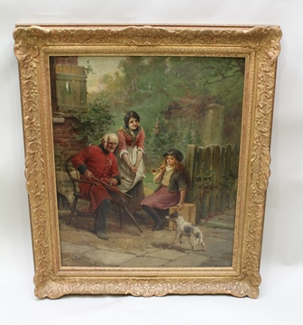 WILLIAM LANGLEY A late 19th century study depicting a Chelsea Pensioner, two girls and a Jack Russell, an Oil on canvas, signed, 75cm x 63cm in modern moulded gilt frame