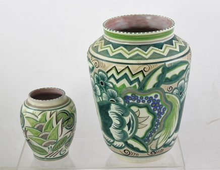 A 1960S POOLE EARTHENWARE VASE boldly decorated in a green stylised floral palette, 26cm high and another similar, 13cm high