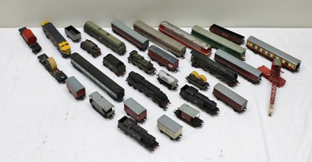 A SELECTION OF PRINCIPALLY HORNBY 3-RAIL ENGINES AND ROLLING STOCK to include Duchess of Montrose and tender, 0-6-0 tank, rail car, Cozo diesel and assorted wagons including Palethorpes Sausages