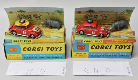 CORGI TOYS no.256 - two Volkswagen 1200 East African Safari Trim die-cast models in original vendors boxes, one left-hand drive, one right-hand drive
