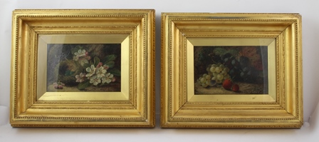 OLIVER CLARE A typical still life study of eggs in a basket, surrounded by floral sprays, Oil on canvas, 15cm x 22cm in plain gilt filet in fancy period glazed frame, together with COMPANION, a still life study of fruit, both signed