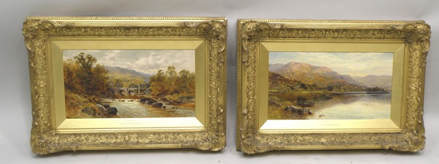 ALFRED AUGUSTUS GLENDENING Grasmere in the Lake District and companion Windermere, a pair of landscapes, Grasmere with a stone bridge and mature trees in full leaf, Windermere with still calm water, a dinghy in the foreground and hills behind, Oils on Canvas, signed, 24cm x 44cm, each in period gilt gesso frame with gilt filet