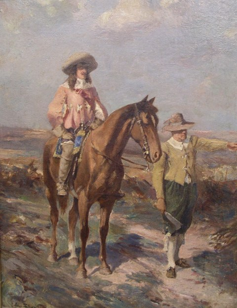 ALLAN STEWART A musketeer on horseback with attendant pointing the way beside him, Oil on Canvas, signed, 33cm x 25cm, in modern gilt gesso frame