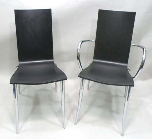 A SET OF SIX DRIADE-OLLY TANGO CHAIRS, each with chrome frame and ebonised maple one piece back and seat, designed by Philippe Stark in 1996, 90cm high (4 singles and 2 armchairs)