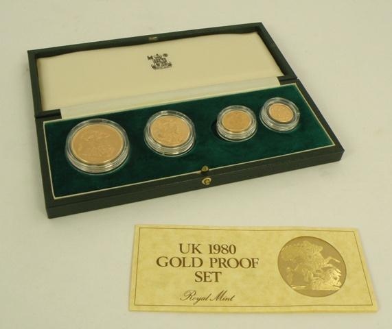 AN ELIZABETH II 1980 UK GOLD PROOF SET comprising;