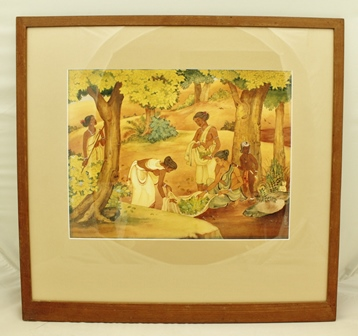 20TH CENTURY INDIAN SCHOOL Harvesting leaves and berries in a woodland setting, a Watercolour, signed/inscribed in Sanskrit, 30cm x 40cm in plain mount and offset dowelled frame