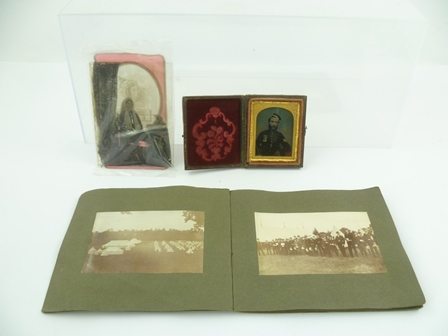 A VICTORIAN AMBRO TYPE half length seated portrait of a Sergeant (Crimea War period), another loose glass photograph of a seated lady and a photograph album of seventeen images comprising 1902 1st BBWR Madresfield (Boer War)